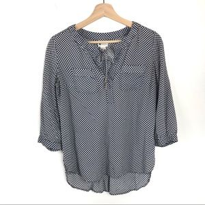 Stylus Tie Front Tunic Blouse Quarter Sleeve Top